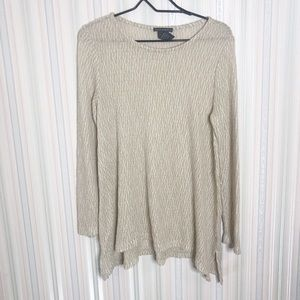 Chelsea & Theodore tan color long sleeve top M